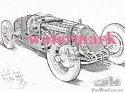 Brian Hatton Drawing of the 1926 Talbot GPLB 1? litre straight eight GP car.