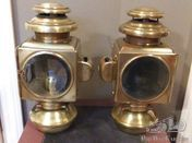 Pair of E&J All Brass Sidelamps c.1912 and Earlier In Excellent Condition
